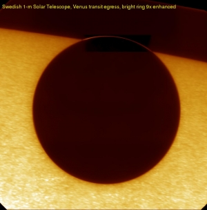 Image of Venus leaving the disk of the Sun, from the Swedish 1 metre Solar Telescope on the 8th of June 2004